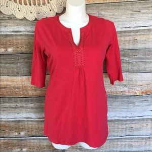 Boden Red Embroidered Boho Tunic Top